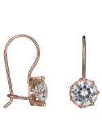Ροζ χρυσά σκουλαρίκια με μία λευκή πέτρα Κ14 D024927 D024927