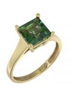 Χρυσό δαχτυλίδι swarovski Κ14 με πράσινη topaz πέτρα D025732 D025732