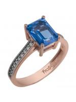 Ροζ χρυσό δαχτυλίδι swarovski Κ14 με μπλε ορθογώνια topaz D025738 D025738