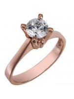 Κλασικό swarovski ροζ gold Κ14 με λευκή πέτρα topaz D025752 D025752