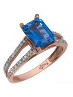 Ροζ gold δαχτυλίδι swarovski με μπλε topaz πέτρα Κ14 D025757 D025757