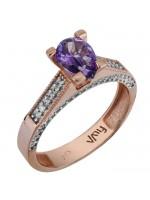 Δαχτυλίδι ροζ gold swarovski με μωβ topaz K14 D025771 D025771