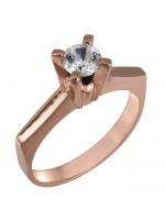 Ροζ gold μονόπετρο δαχτυλίδι swarovski Κ14 D025854 D025854