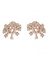 """Ροζ χρυσά σκουλαρίκια """"το δέντρο της ζωής"""" Κ14 D025917 D025917"""