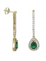 Χρυσά σκουλαρίκια Κ9 με πράσινη πέτρα δάκρυ D026700 D026700