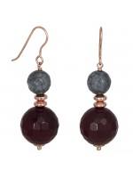 Σκουλαρίκια κρεμαστά ασήμι 925 με ορυκτές πέτρες αχάτη D027199 D027199