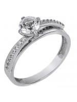Λευκόχρυσο δαχτυλίδι Swarovski Κ14 με λευκή τοπάζ D027202 D027202