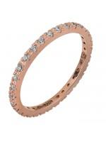 Ροζ χρυσό ολόβερο δαχτυλίδι Κ14 με ζιργκόν D028746 D028746