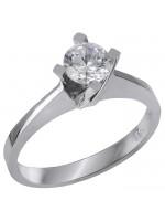 Λευκόχρυσο μονόπετρο δαχτυλίδι Κ14 με ζιργκόν D028865 D028865