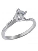 Μονόπετρο δαχτυλίδι λευκόχρυσο Κ14 με ζιργκόν D028871 D028871