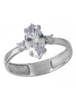 Δαχτυλίδι γυναικείο λευκόχρυσο 14Κ ναβέτα D032141 D032141
