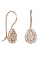 Ροζ gold σκουλαρίκια 14Κ ροζέτα με ζιργκόν D032273 D032273