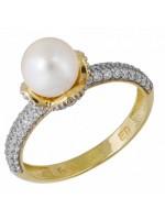 Δαχτυλίδι χρυσό 14Κ με ζιργκόν και μαργαριτάρι D032680 D032680