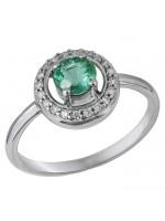 Λευκόχρυσο δαχτυλίδι 18Κ ροζέτα με σμαράγδι D032937 D032937