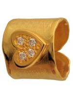 Επιχρυσωμένο σεβαλιέ δαχτυλίδι 925 με σκαλιστή καρδιά DASD371-10 DASD371-10