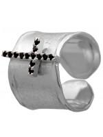 Σεβαλιέ ασημένιο δαχτυλίδι 925 με πετράτο σταυρό DASD371-18 DASD371-18