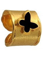 Επίχρυσο σεβαλιέ δαχτυλίδι 925 με μαύρη πεταλούδα DASD371-3 DASD371-3