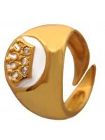 Επίχρυσο σεβαλιέ δαχτυλίδι 925 με μία κορώνα και ζιργκόν DASD383B DASD383B