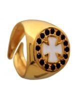 Επίχρυσο σεβαλιέ δαχτυλίδι 925 με άσπρο σταυρό DASD429M DASD429M