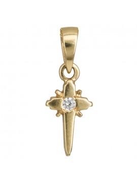 Χρυσό σταυρουδάκι με πέτρα ζιργκόν D010958 D010958