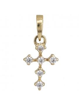 Χρυσό σταυρουδάκι με πέτρες Κ14 D010960 D010960