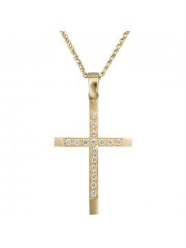 Χρυσός σταυρός 14Κ γυναικείος D012306C
