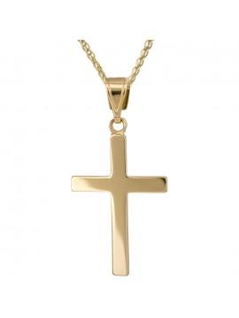 Χρυσός αντρικός σταυρός με αλυσίδα K14 D017224C D017224C