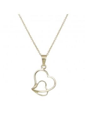 Χρυσό κολιέ Κ9 με δύο καρδιές D014941C D014941C