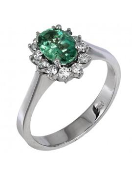 Δαχτυλίδι Κ18 με σμαράγδι και διαμάντια D016910 D016910