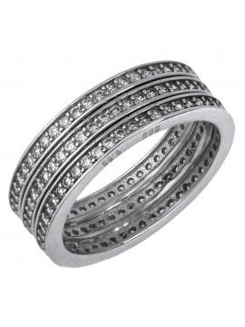 Λευκόχρυσο δαχτυλίδι ολόερο Κ14 D019648