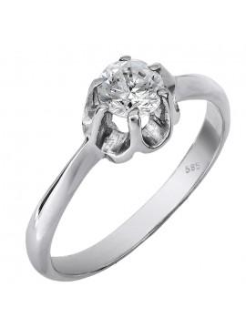 Λευκόχρυσο μονόπετρο δαχτυλίδι Κ9 D013810 D013810