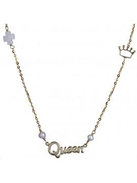 Χρυσό γυναικείο κολιέ Queen 9 Καρατίων με κορώνα D020522