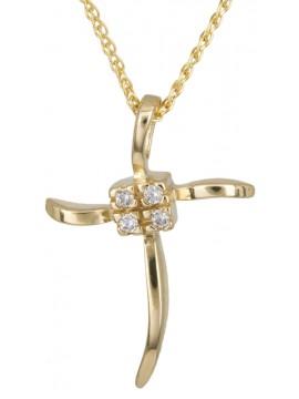 Χρυσός σταυρός με καδένα 14Κ D012933C