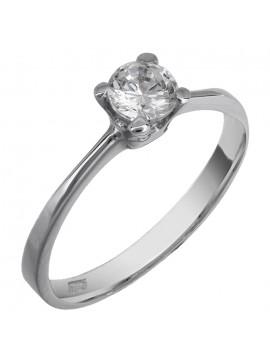 Λευκόχρυσο μονόπετρο δαχτυλίδι Κ9 με ζιργκόν D013813 D013813