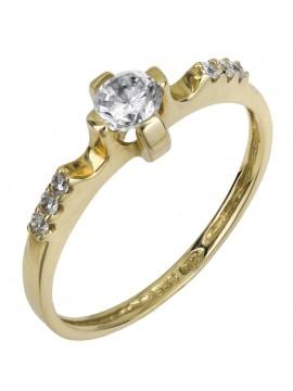 Λαμπερό μονόπετρο δαχτυλίδι από χρυσό 9Κ D015838 D015838