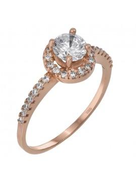 Μονόπετρο δαχτυλίδι από ροζ χρυσό 14 καρατίων D019826 D019826