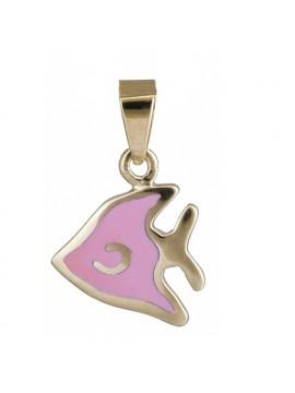 Παιδικό κρεμαστό ψαράκι με ροζ σμάλτο 14Κ DC020154 D020154C