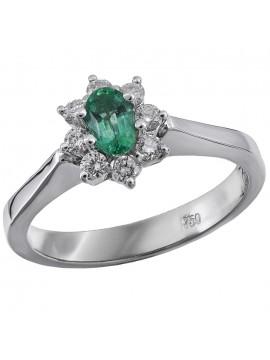 Λευκόχρυσο δαχτυλίδι 18 Καρατίων ροζέτα με σμαράγδι D020793 D020793