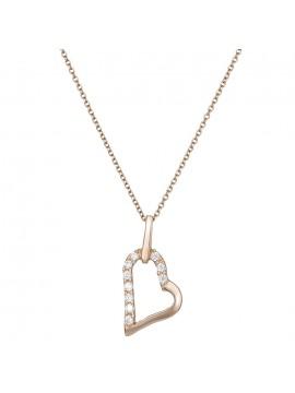 Ροζ χρυσή καρδιά με ζιργκόν Κ14 D022352 D022352