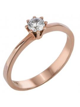 Μονόπετρο δαχτυλίδι με ζιργκόν από ροζ χρυσό 14Κ D023829 D023829