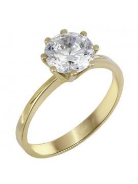 Μονόπετρο γυναικείο δαχτυλίδι με ζιργκόν από χρυσό 14Κ D023830 D023830