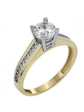 Μονόπετρο δίχρωμο δαχτυλίδι Κ14 με ζιργκόν D024367 D024367