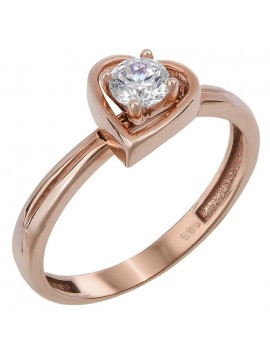 Ροζ gold μονόπετρο καρδιά με swarovski Κ14 D024378 D024378