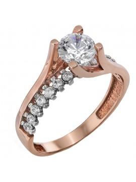 Δίχρωμο μονόπετρο δαχτυλίδι 14 καρατίων D024380