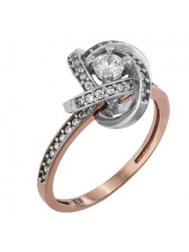Μονόπετρο δίχρωμο δαχτυλίδι Κ14 με ζιργκόν D024381 D024381
