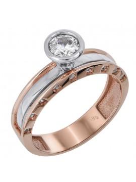 Μονόπετρο δαχτυλίδι σε ροζ χρυσό 14 καρατίων D024383 D024383