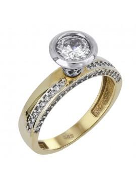 Δίχρωμο μονόπετρο δαχτυλίδι γάμου Κ14 με ζιργκόν D024384 D024384