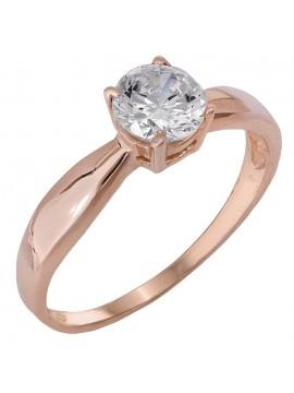 Κλασικό ροζ gold μονόπετρο με ζιργκόν 14Κ D024690 D024690