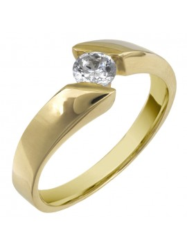 Οικονομικό μονόπετρο δαχτυλίδι από χρυσό 14Κ D002596