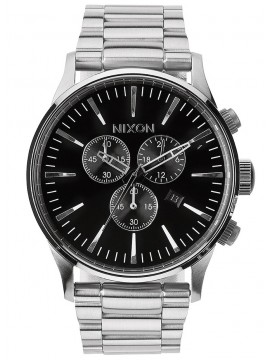 Ρολόι αντρικό Nixon Sentry Chrono Silver/ Black A386-000-00 A386-000-00